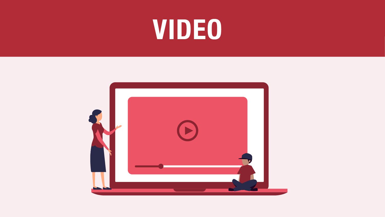 cartoon figures watching a video on a laptop