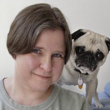 Photograph of Linda Lombardi and a pug