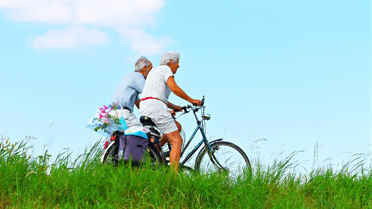 older adults bike riding