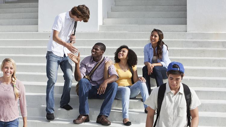 image of teenagers on stoop